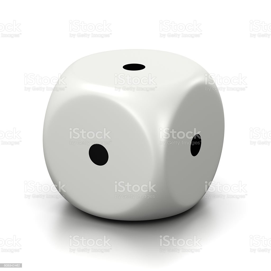 All One Numbered Faces White Dice stock photo