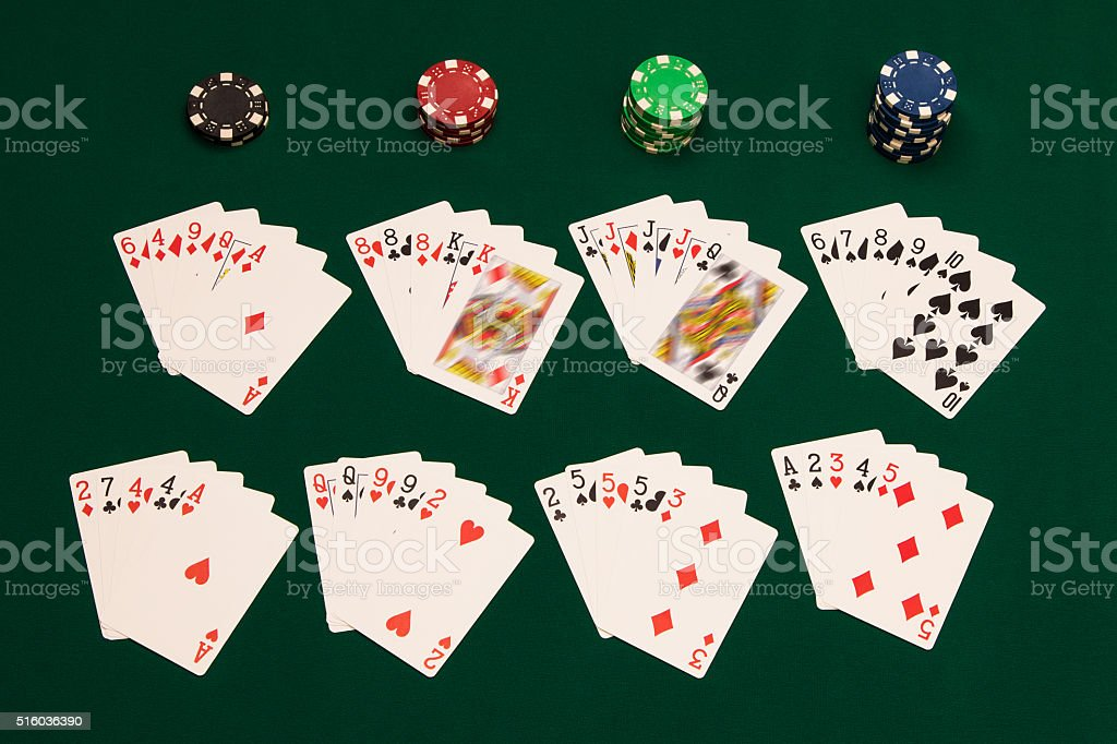 All poker hands stock photo