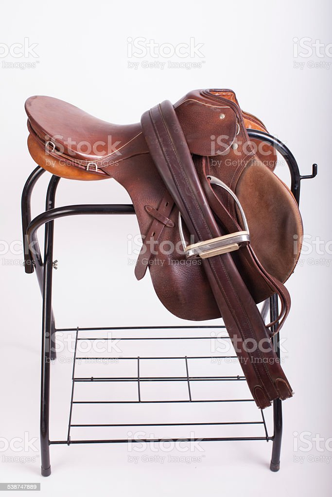 All Purpose English Saddle on Saddle Stand stock photo