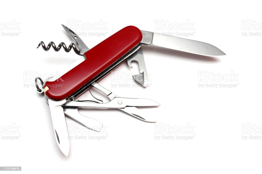 All purpose knife or multi-tool with tools open royalty-free stock photo
