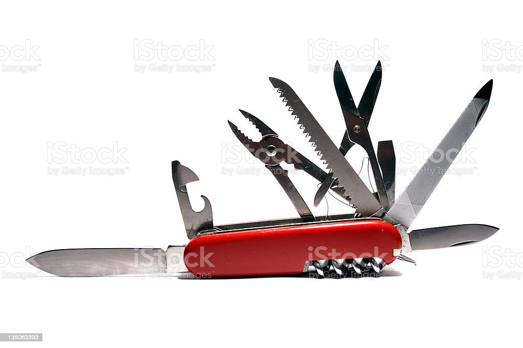 All Purpose Knife Red White Background stock photo