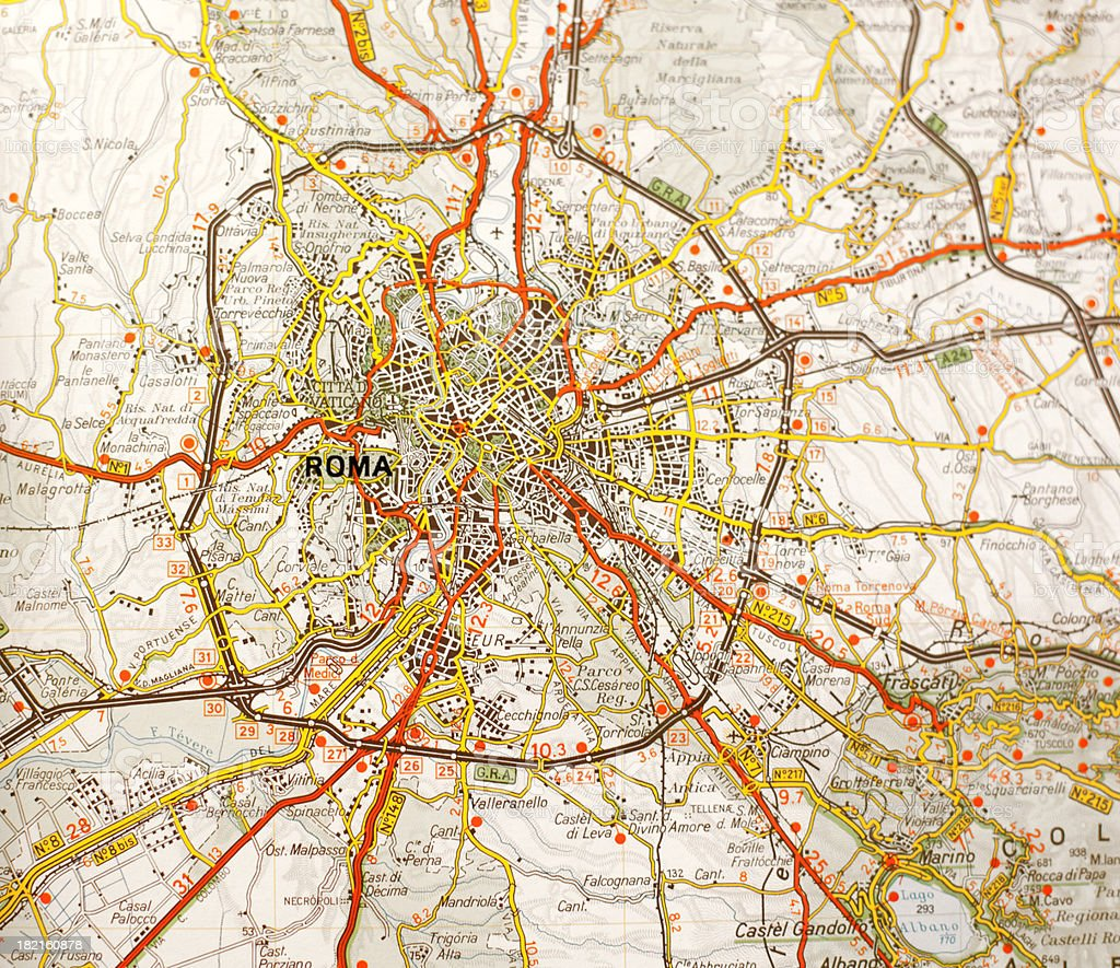 All Roads Lead to Rome: the Map stock photo