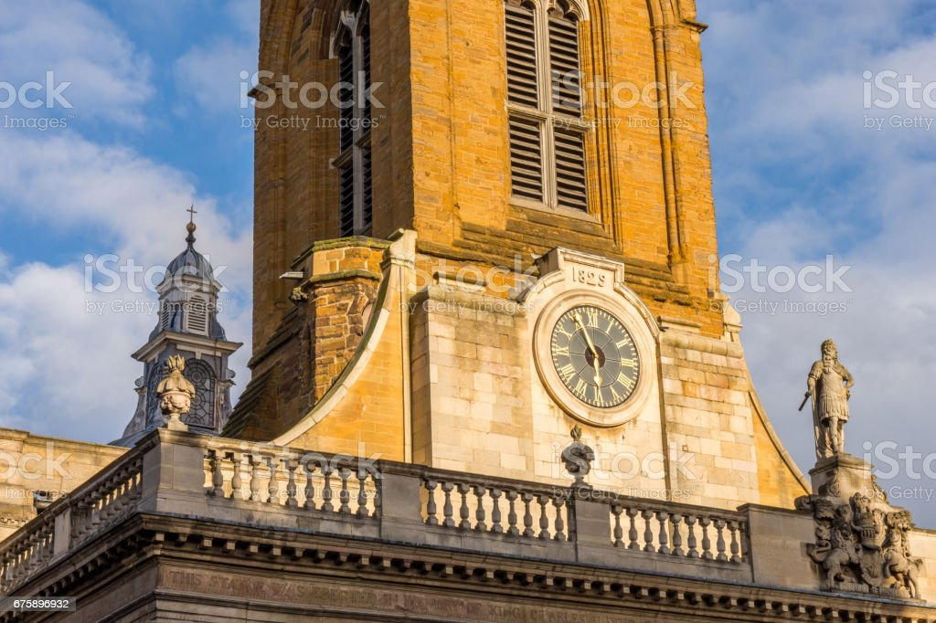 All Saints church clock in the centre of Northampton England stock photo