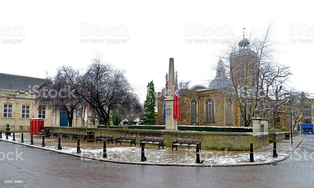 All Saints church Northampton. in winter. stock photo