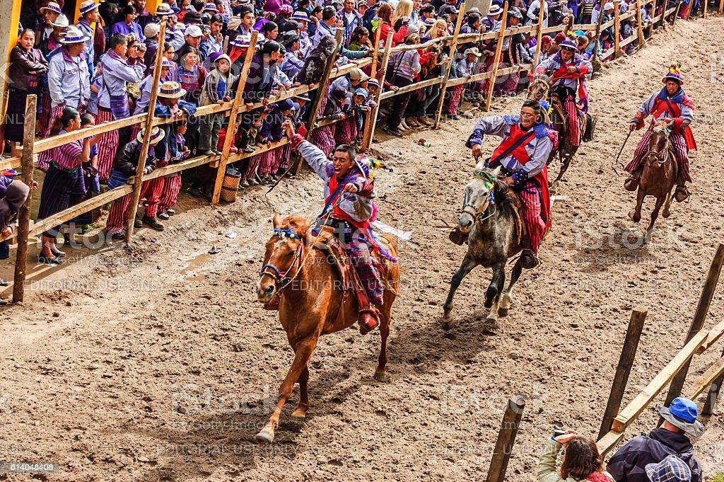 All Saints' Day horse race, Todos Santos Cuchumatan, Guatemala stock photo