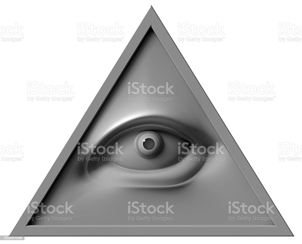 all seeing eye of God. Isolated on white background stock photo