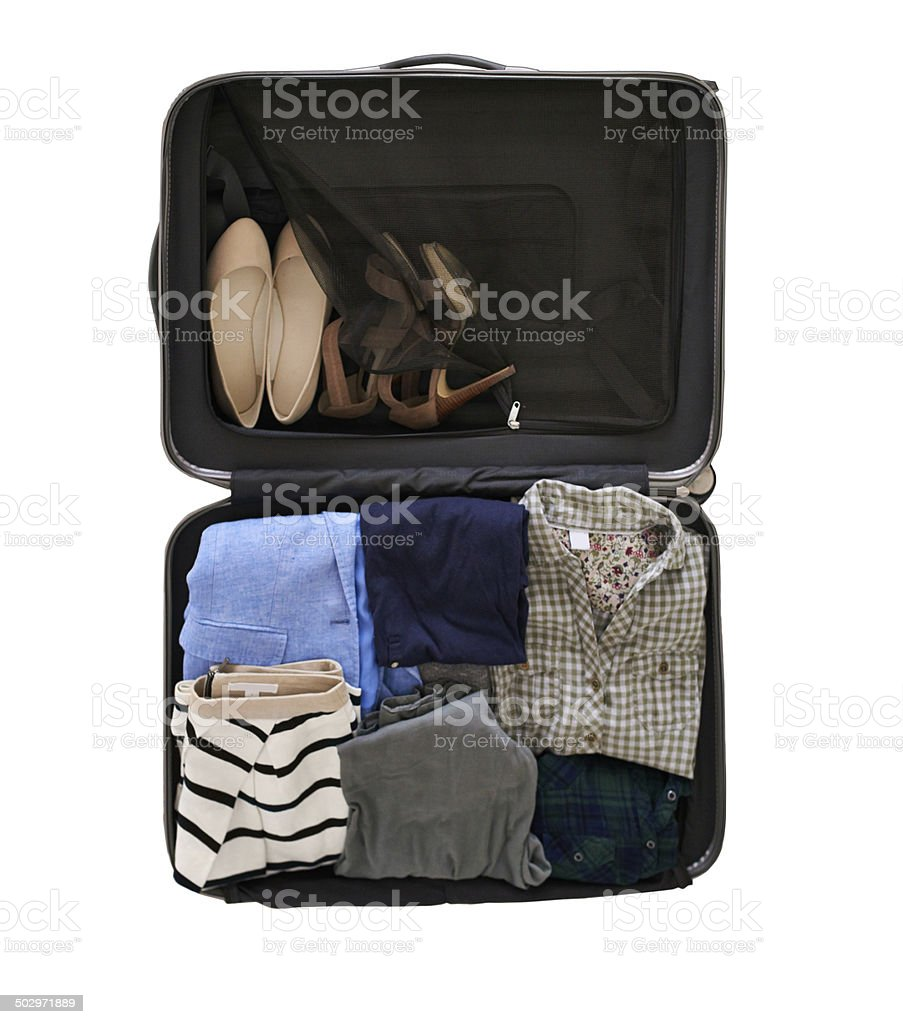 All she needs for her weekend away stock photo