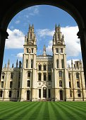 All Souls College Oxford, England viewed through arch