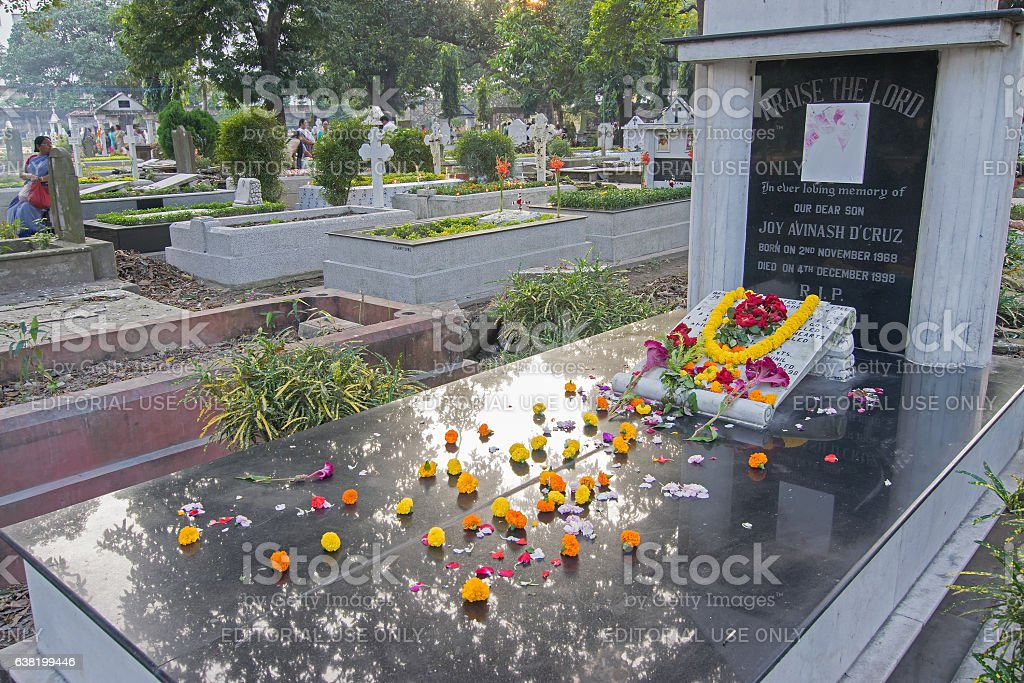 'All souls day' remembrance at Park Street cemetary, Kolkata, Calcutta, stock photo