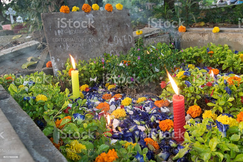 'All souls day' remembrance at Park Street cemetary, Kolkata, India stock photo