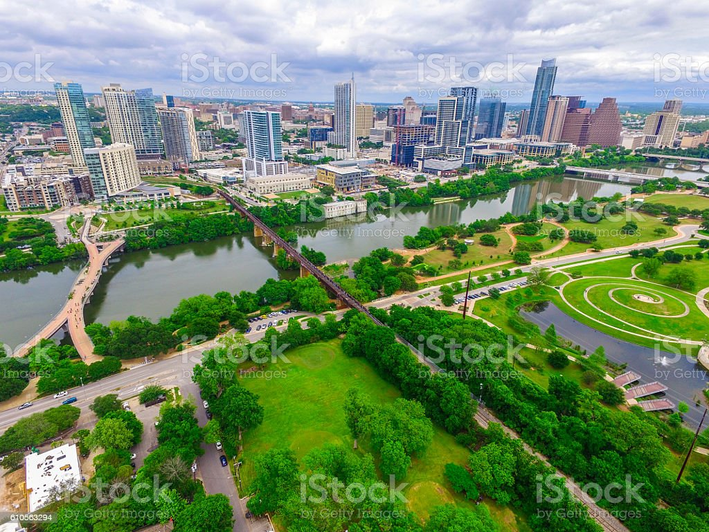 All The Bridges Over Austin Texas Lush Green stock photo