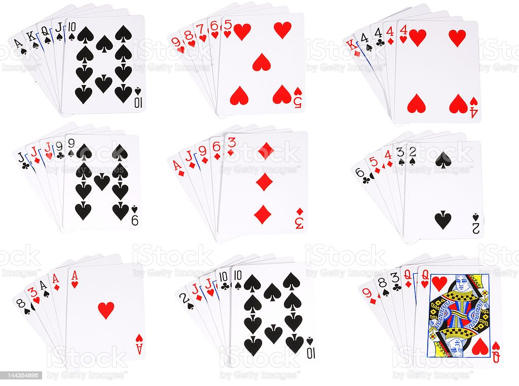 All the poker hands stock photo