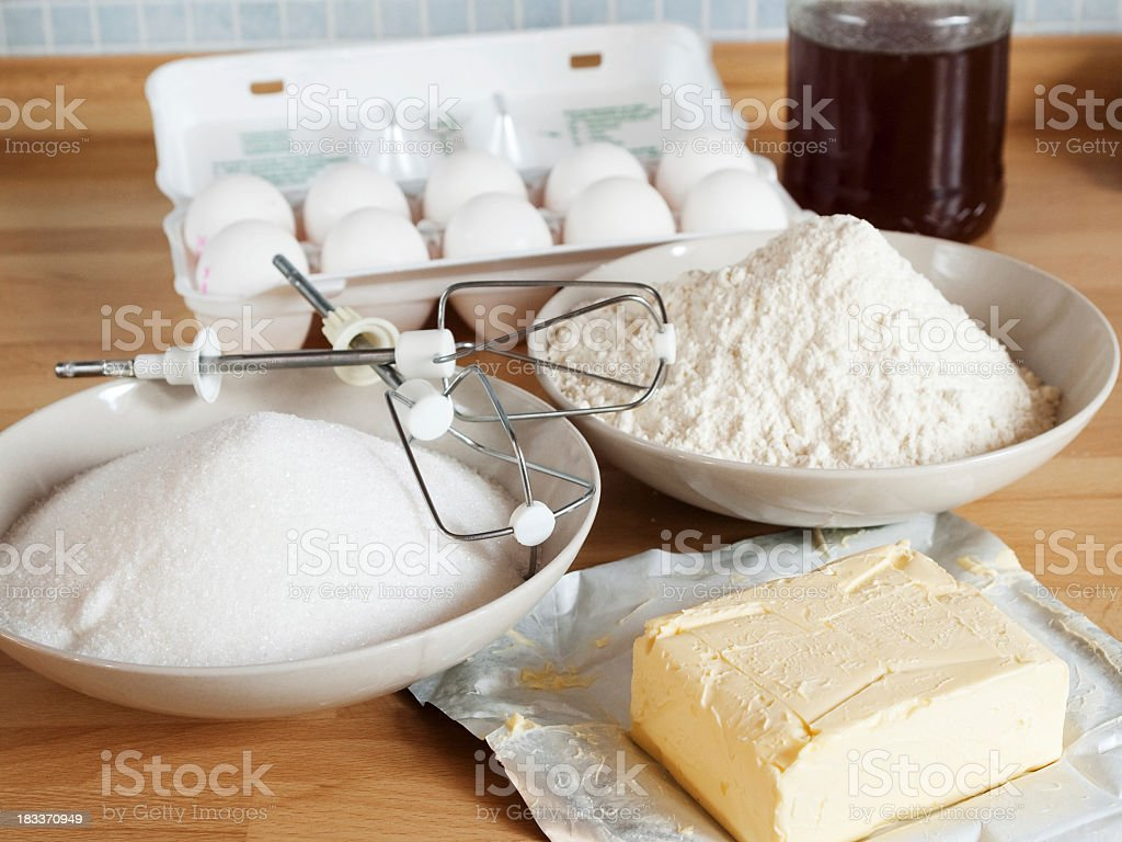 All the supplies to bake a cake stock photo