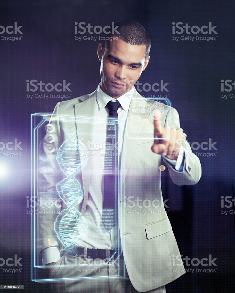 All the world's research at his fingertips stock photo