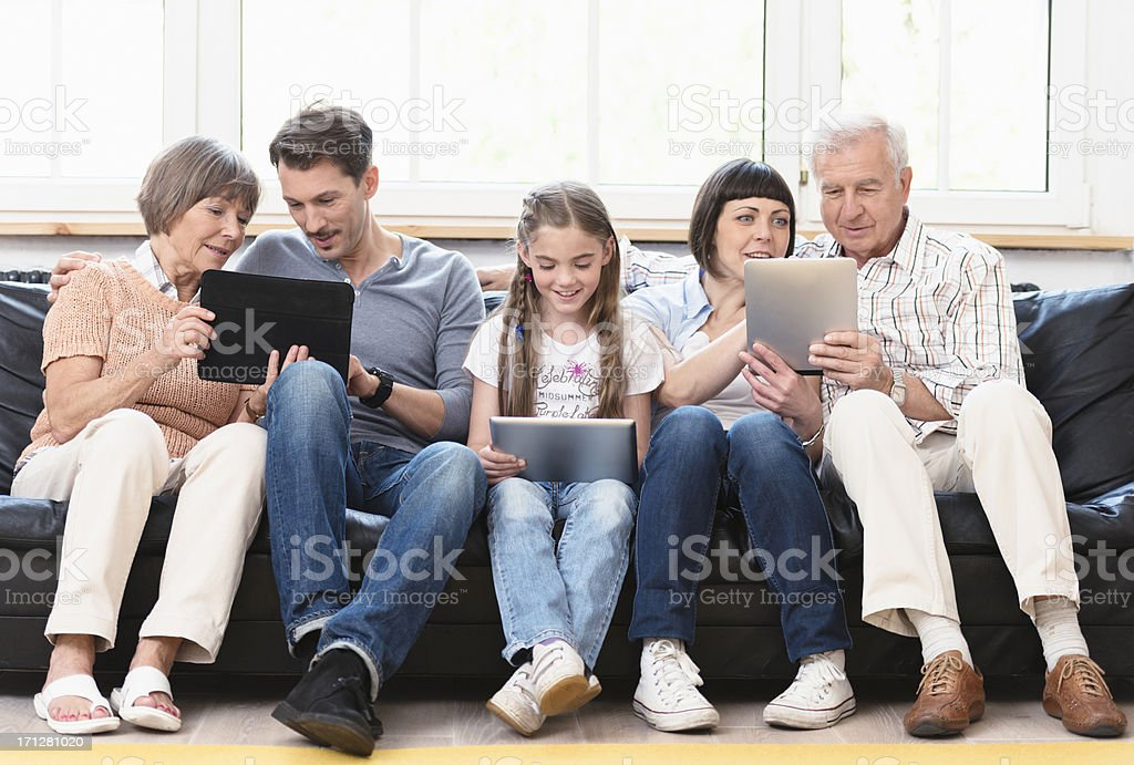All together connect on internet - social media stock photo