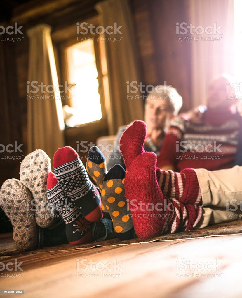 all together for the christmas afternoon stock photo
