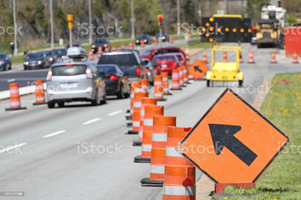 All Traffic Move Left Signs stock photo