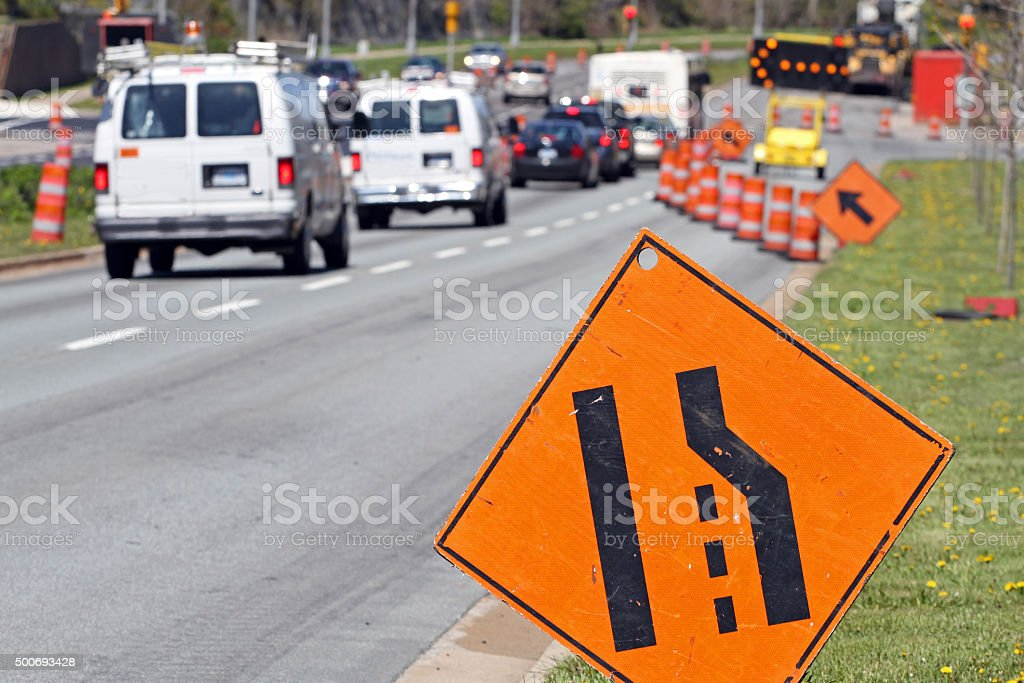 All Traffic Move Left Signs, Road Construction stock photo