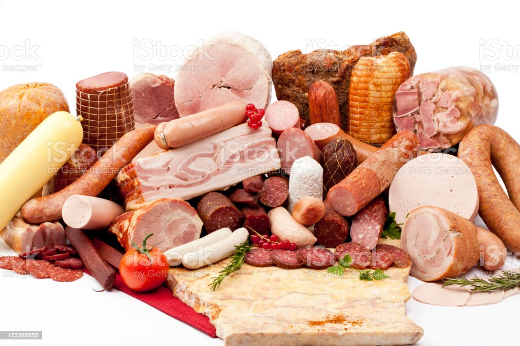 All types of deli meat stock photo