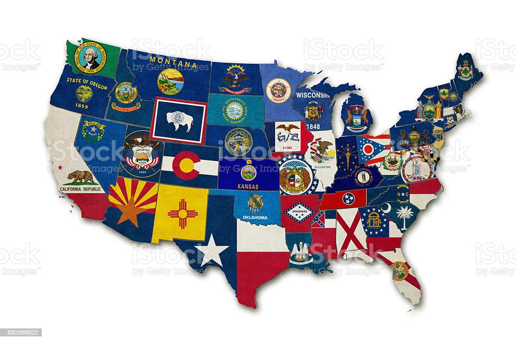 all US flags stock photo