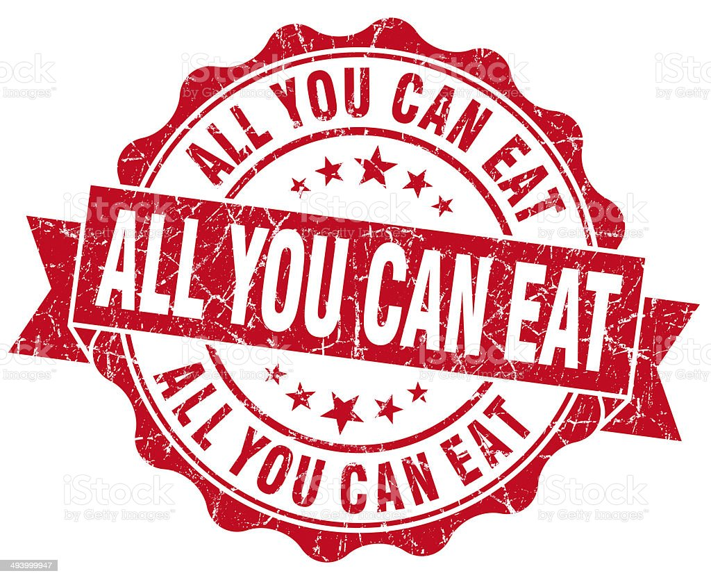 All you can eat red grunge vintage seal stock photo