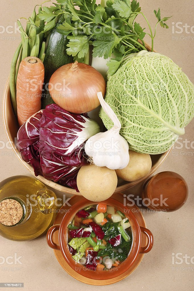 All you need for typical italian minestrone soup royalty-free stock photo
