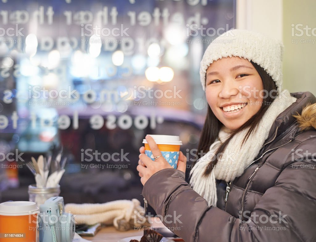 All you need is coffee and warm clothing stock photo