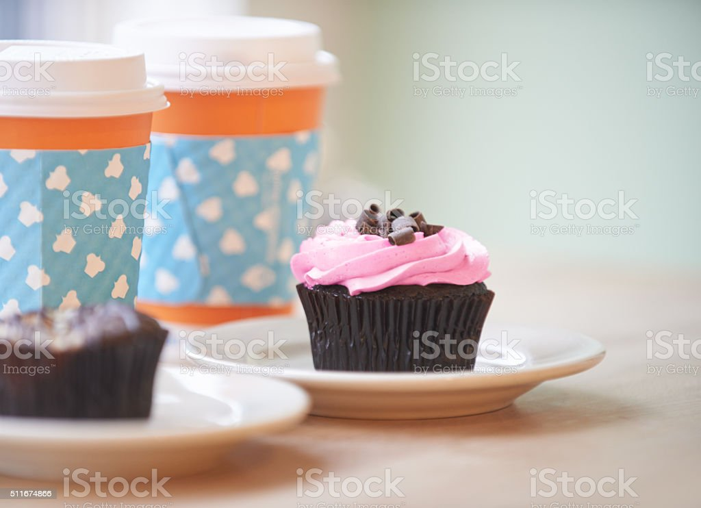 All you need is cupcakes and coffee stock photo