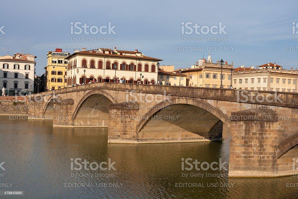 Alla Carraia bridge in Florence, Italy stock photo