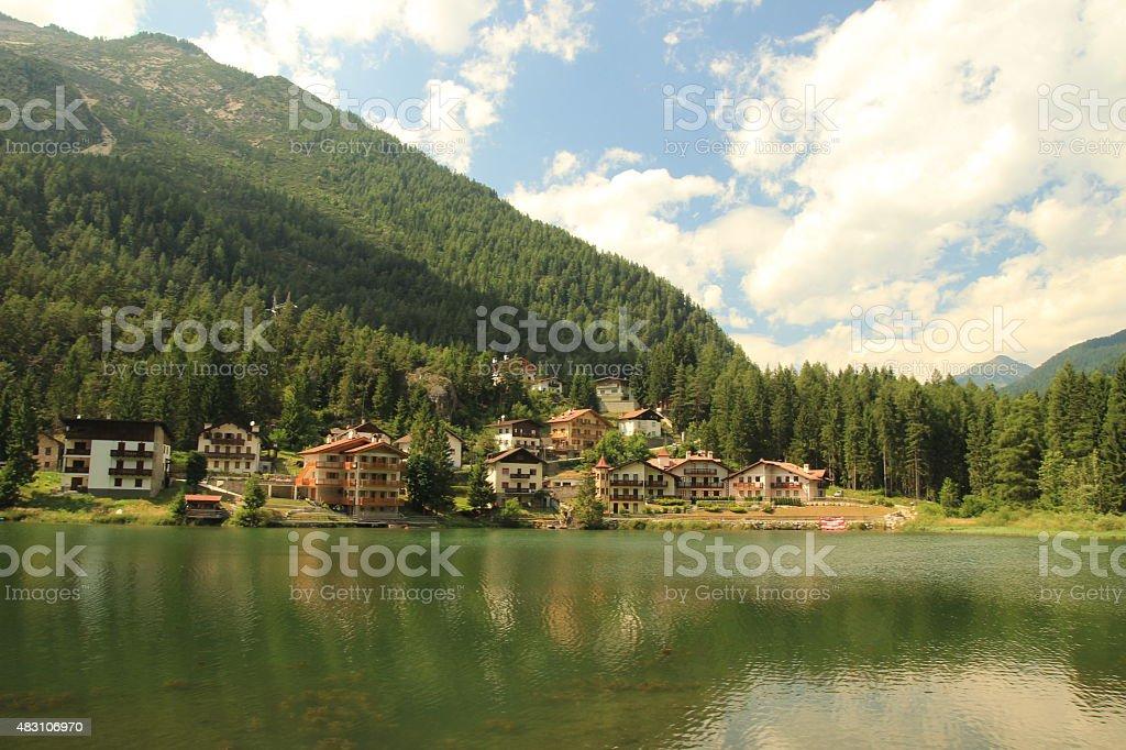 Alleghe Lake stock photo