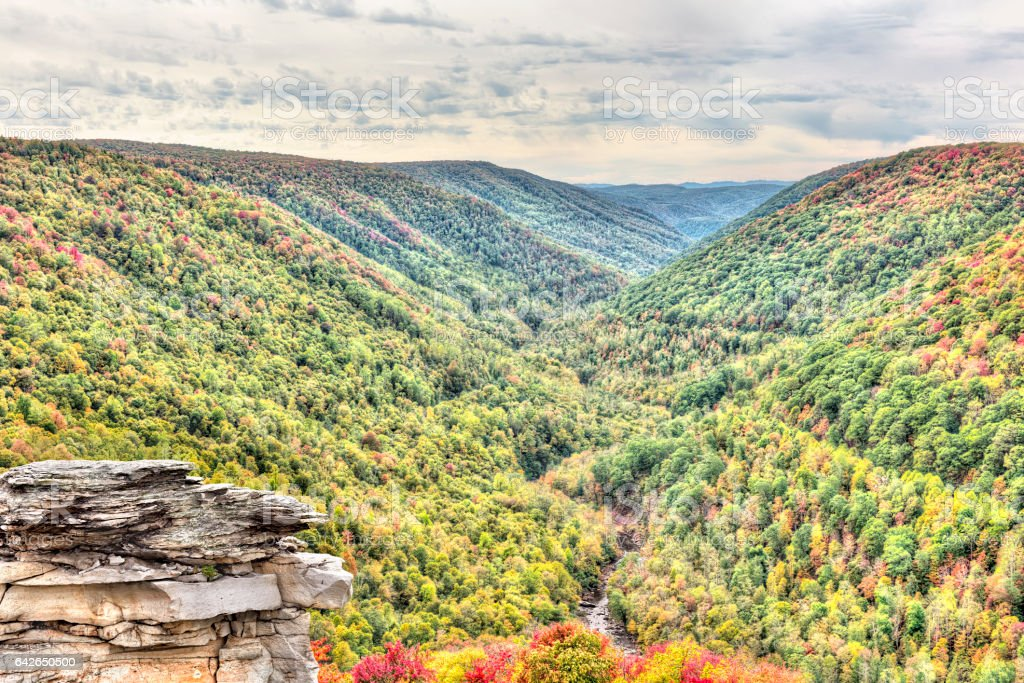 Allegheny mountains in autumn at Lindy Point overlook stock photo