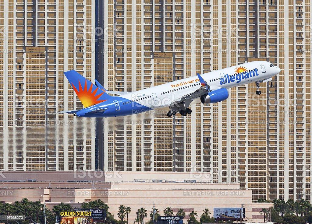 Allegiant Air 757 Las Vegas. stock photo