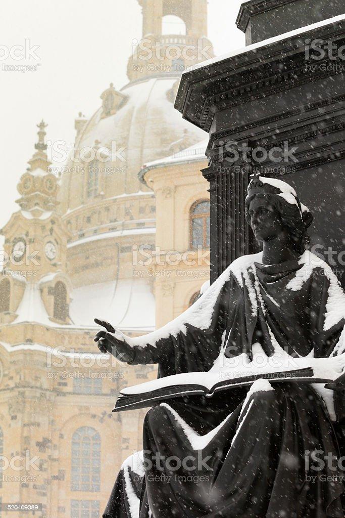 allegorical figure in front of the Dresden Frauenkirche stock photo