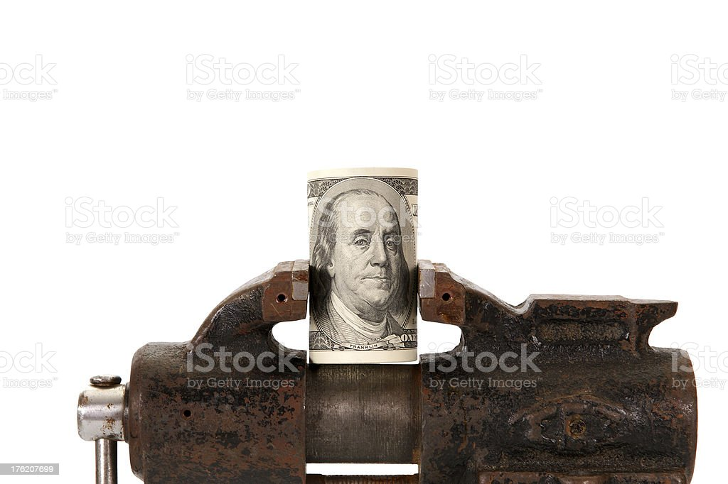 Allegory of the global financial crisis - U.S. dollars stock photo
