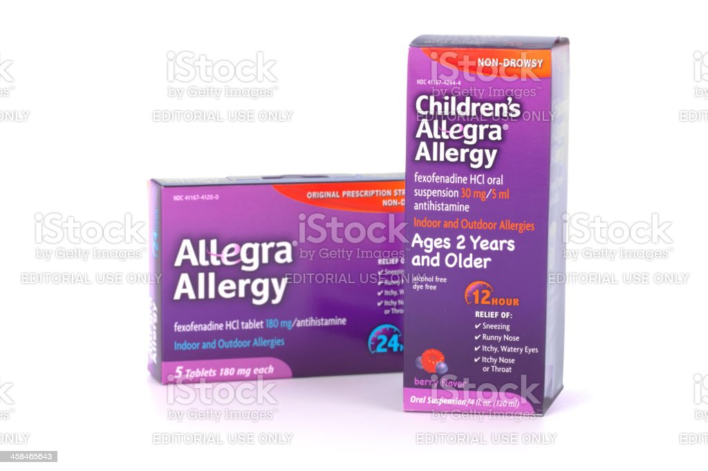 Allegra Allergy For Children and Adults stock photo