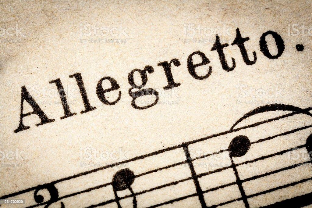 allegretto  - fast music tempo stock photo