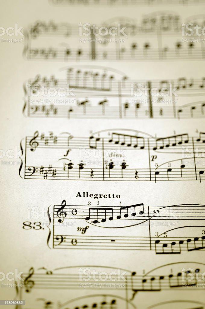 allegretto musical happier tempo stock photo
