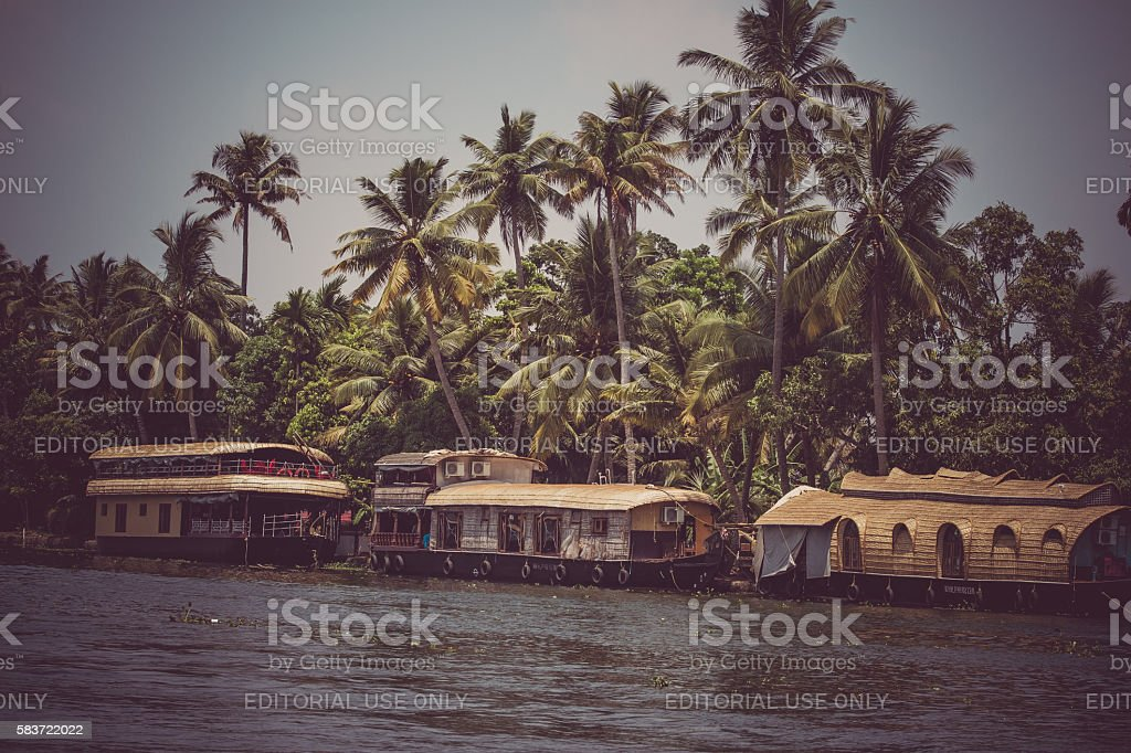 Allepey, Kerala, India, March 31, 2015: Backwaters boats. Channels on stock photo
