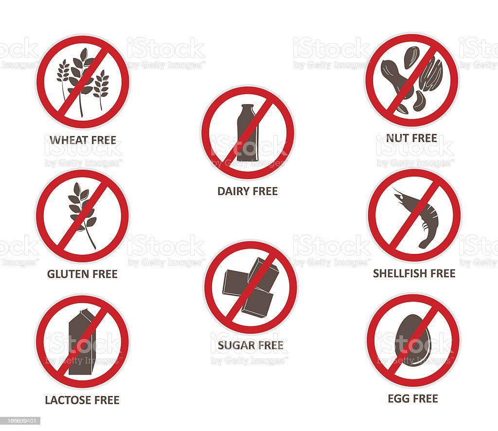 Allergen Free Stickers royalty-free stock photo