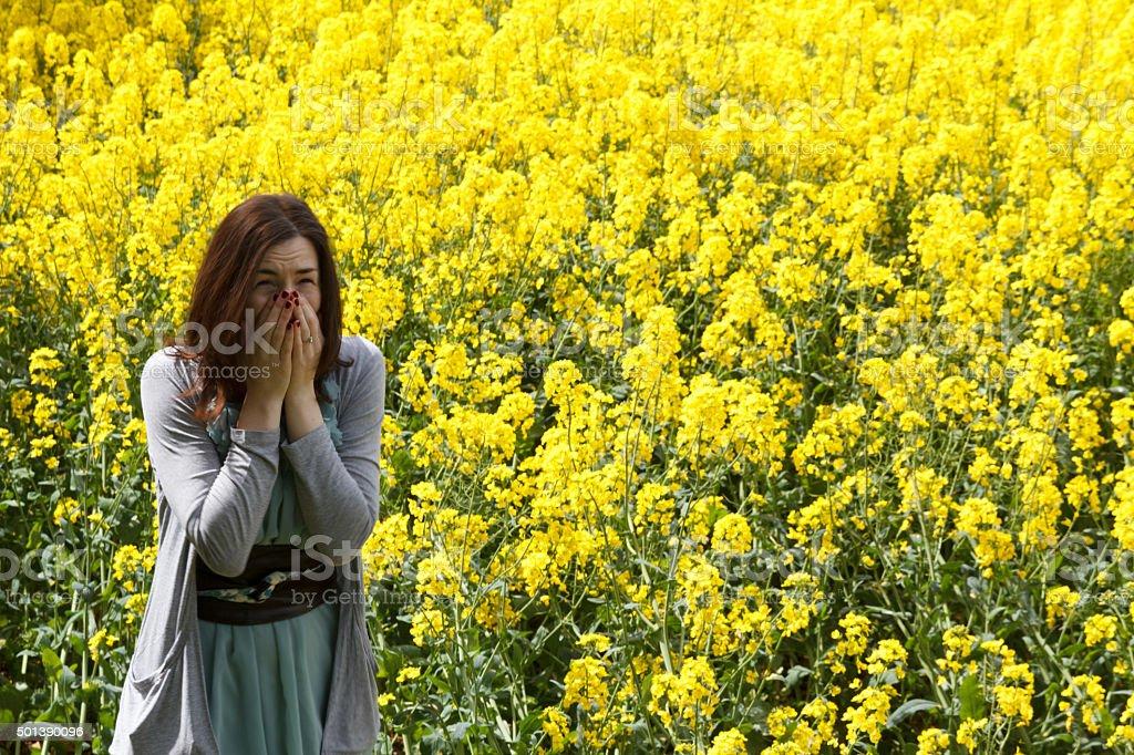 Allergic Hayfever Sneeze stock photo