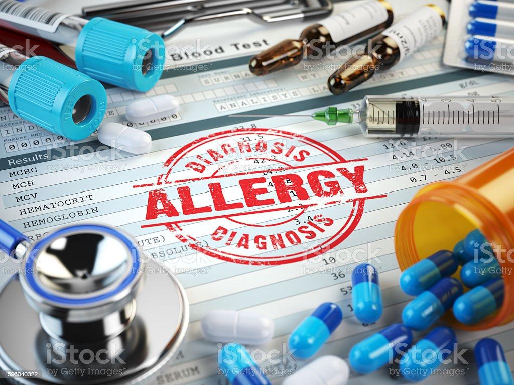 Allergy diagnosis. Stamp, stethoscope, syringe, blood test stock photo