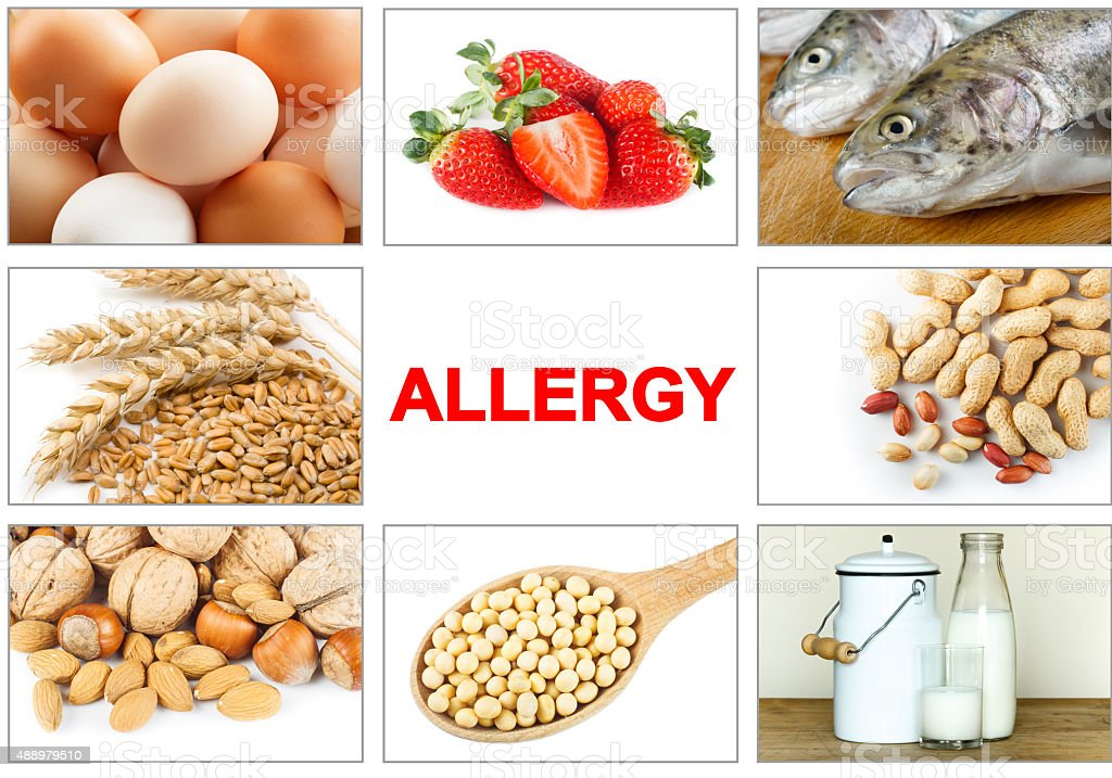 Allergy food concept stock photo