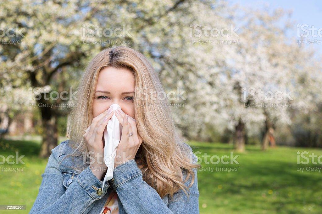 Allergy, Woman, Spring stock photo