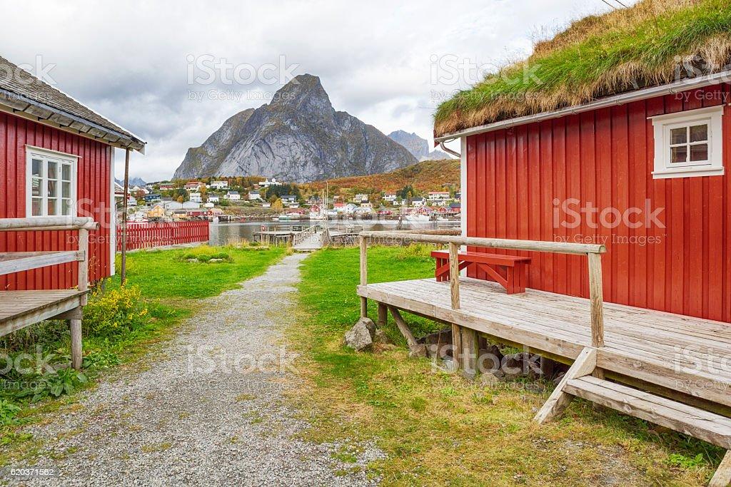 Alley between Rorbus in Reine, Lofoten, Norway stock photo
