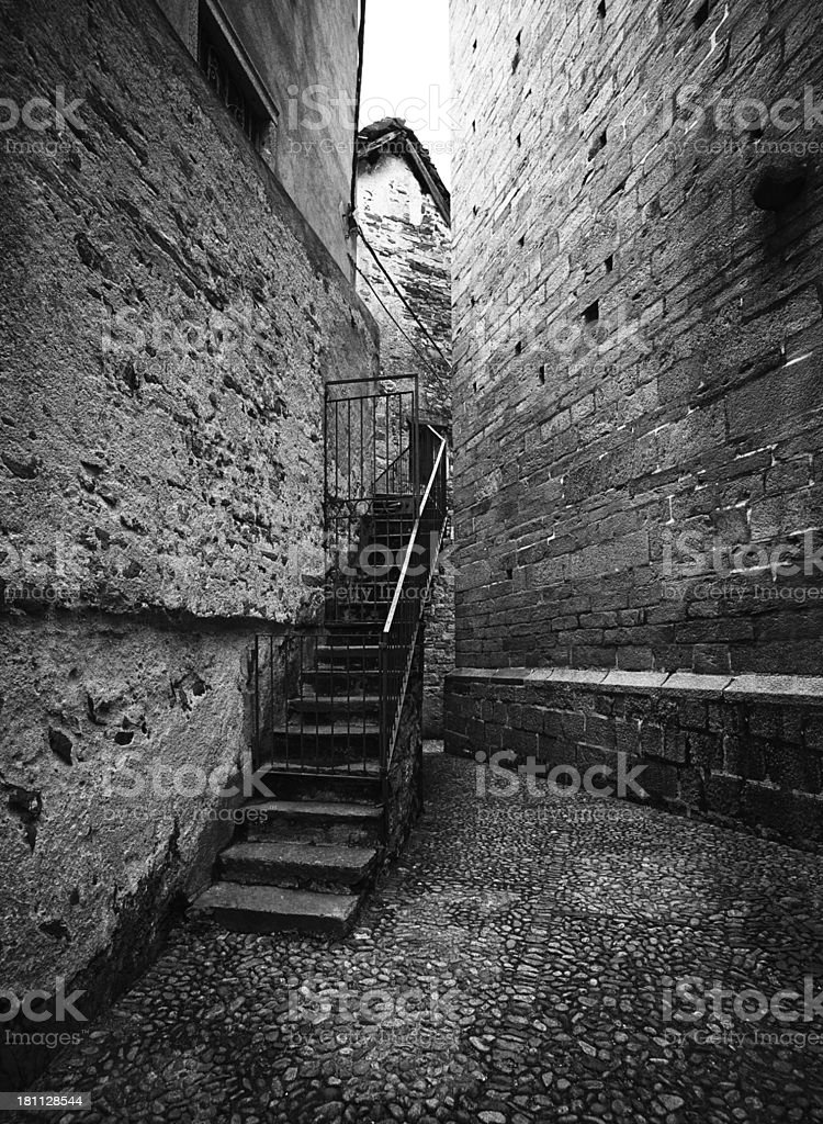 Alley. Black and White royalty-free stock photo