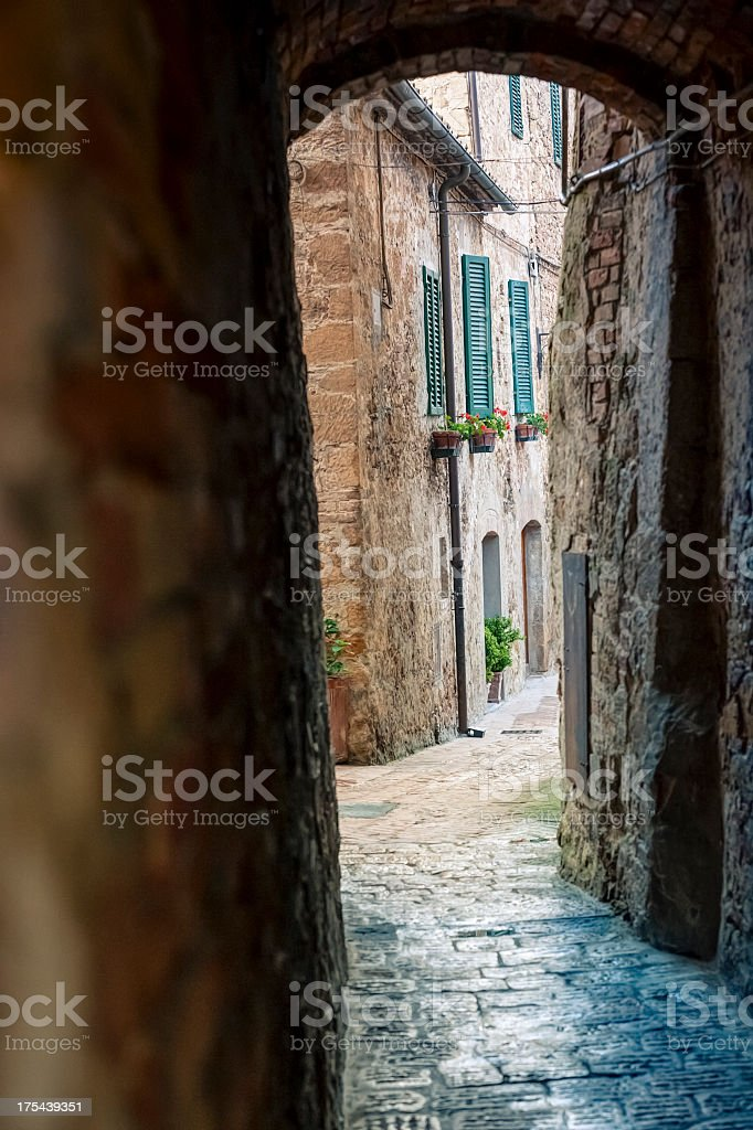 Alley in a Tuscan town royalty-free stock photo