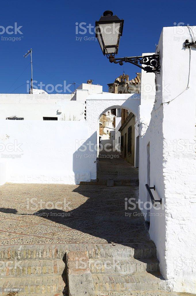 Alley in Arcos de la Frontera, Spain stock photo