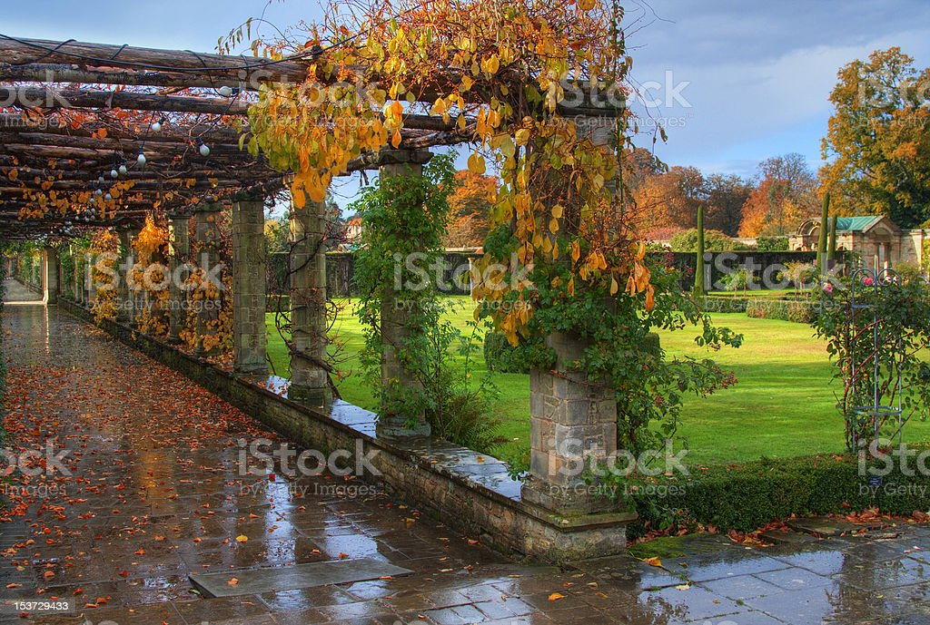 Alley in Hever Castle park stock photo