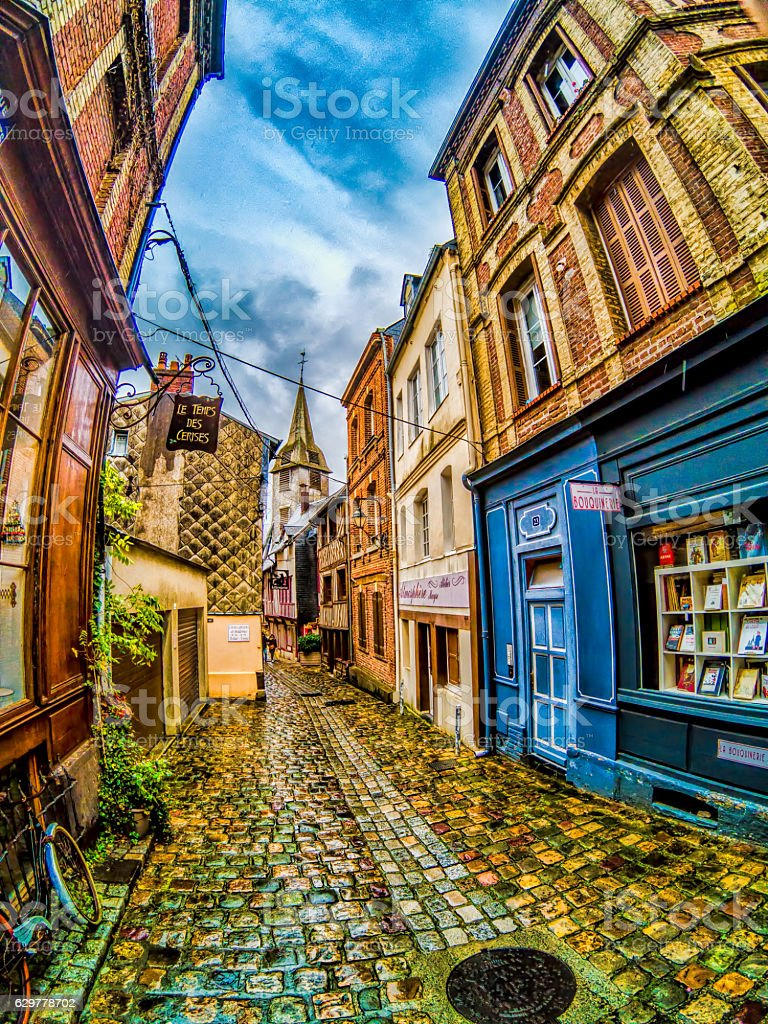 Alley in Honfleur, France stock photo