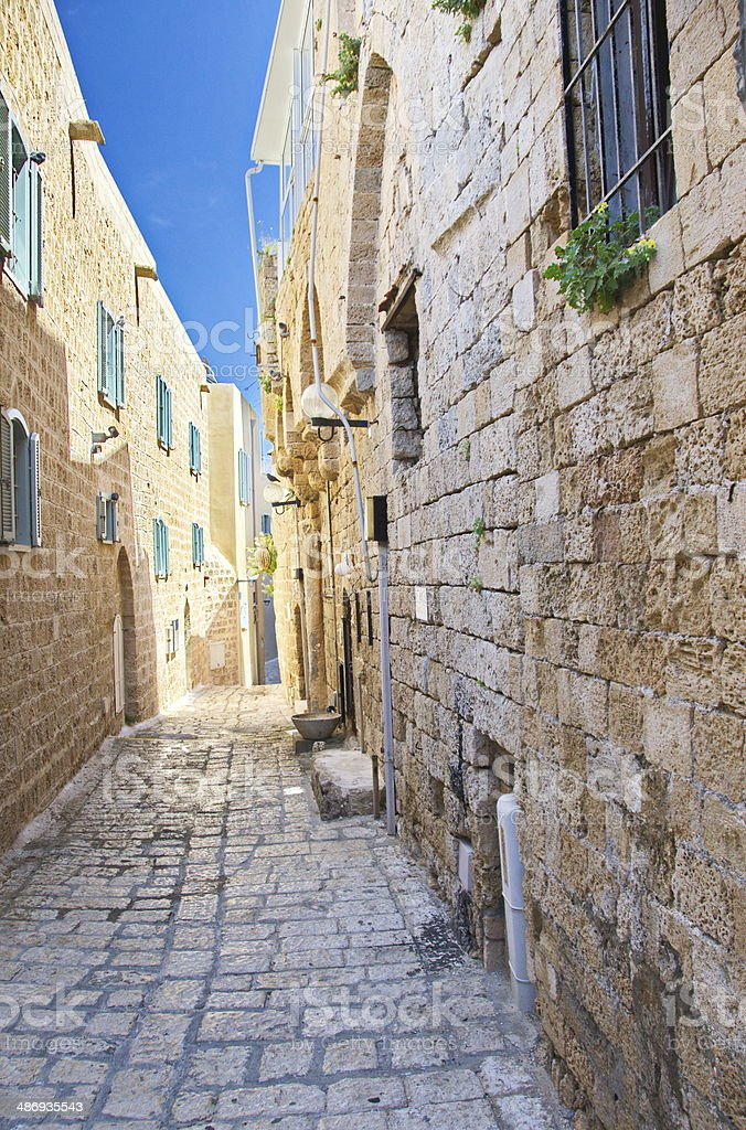Alley in Jaffa, Tel Aviv stock photo